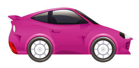 Pink racing car on isolated background illustration