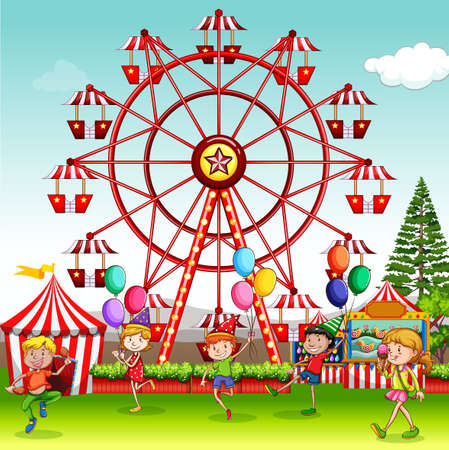 Scene with happy children playing in the circus park illustration Vetores