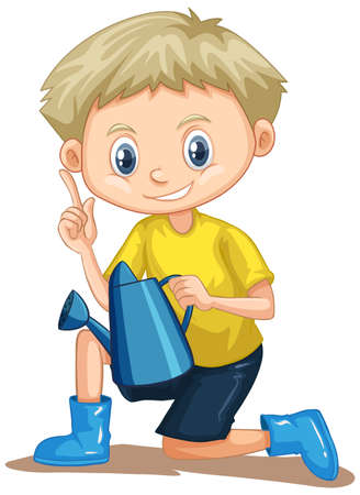 Boy in yellow shirt with watering can illustration