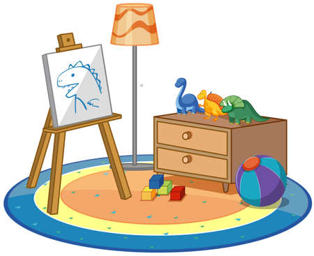 Canvas and many toys on the carpet illustration