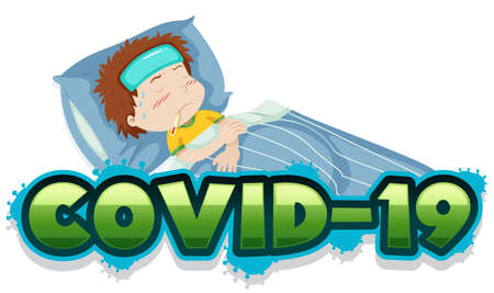 Covid 19 sign template with sick boy in bed illustration