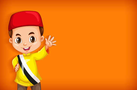 Background template with plain color wall and happy boy illustration