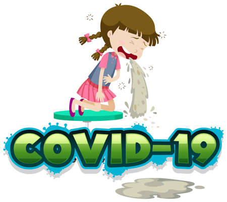 Covid 19 sign template with girl vomitting illustration