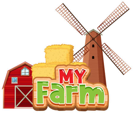 Font design for word my farm with barn and windmill illustration 向量圖像