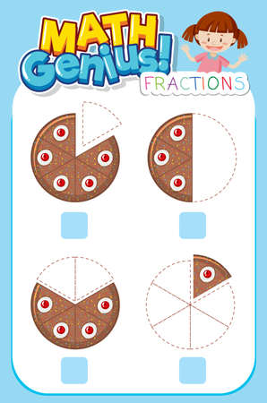 Worksheet design for math genius with girl and fractions illustration Ilustración de vector