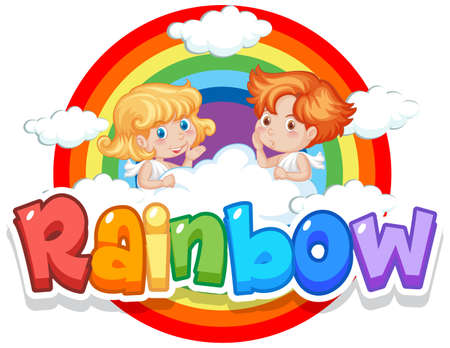 Font design for word rainbow with rainbow in the sky background illustration Векторная Иллюстрация