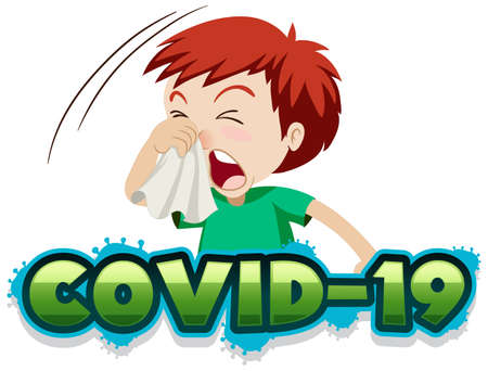 Covid 19 sign template with sick boy sneezing illustration