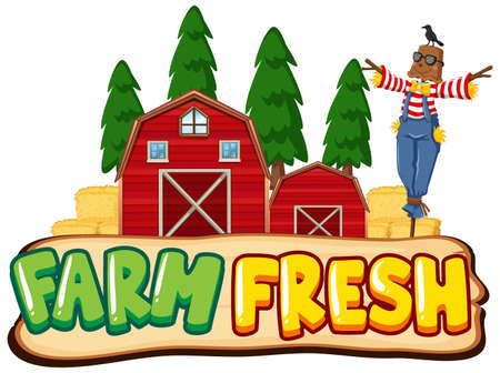 Font design for word farm fresh with scarecrow and red barns illustration