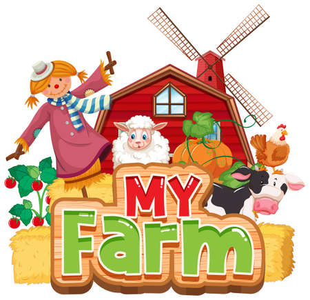 Font design for word my farm with animals and vegetables illustration 向量圖像