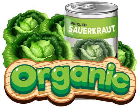 Font design for word organic with canned pickled sauerkraut illustration Illustration