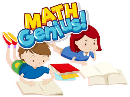 Font design for word math genius with two happy children illustration