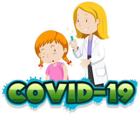 Covid 19 sign template with sick girl and doctor illustration  イラスト・ベクター素材