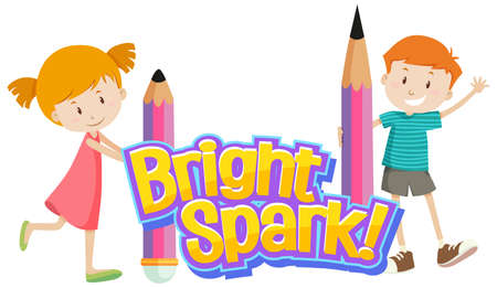 Font design for word bright spark with cute kids illustration