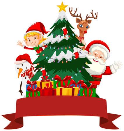 Christmas theme with Santa and elf illustration