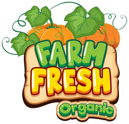 Font design for word fresh farm with pumpkins illustration Vetores