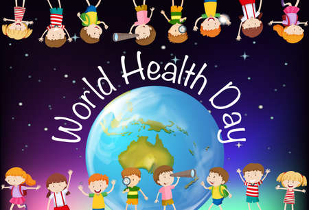 Poster design for world health day with kids in background illustration