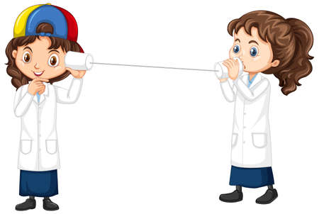 Two girls experimenting sound wave on white background illustration
