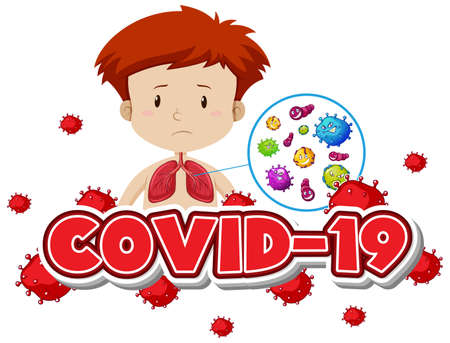 Covid 19 sign template with boy and bad lungs illustration  イラスト・ベクター素材