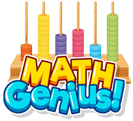 Font design for word math genius with counting blocks illustration