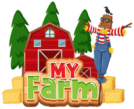Font design for word my farm with scarecrow and barns illustration