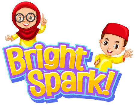 Font design for word bright spark with happy muslim kids illustration