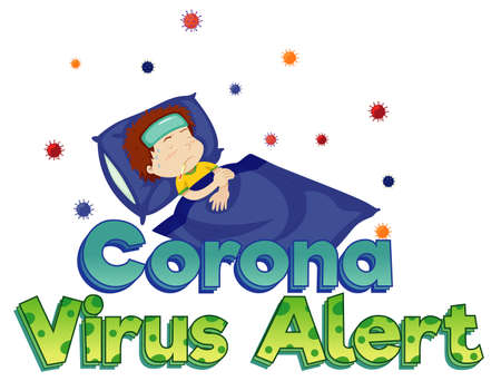 Poster design for coronavirus theme with sick boy in bed illustration  イラスト・ベクター素材