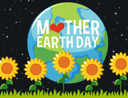 Poster design for mother earth day with sunflowers in the garden at night illustration