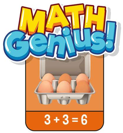 Math flashcard design for adding numbers illustration