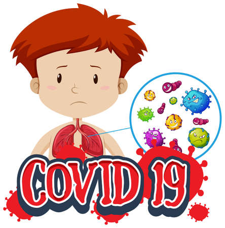 Covid 19 sign template with coronavirus in boy lungs illustration  イラスト・ベクター素材