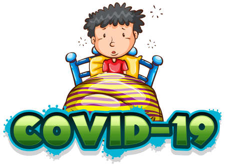 Covid 19 sign template with sick boy in bed illustration  イラスト・ベクター素材