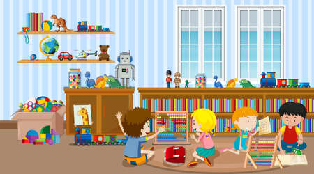 Scene with many kids in the classroom illustration