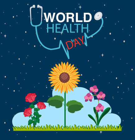 Poster design for world health day with flowers in garden background illustration