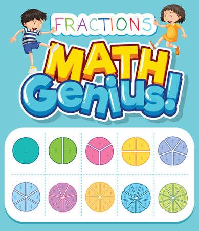 Math worksheet design with fractions on blue background illustration