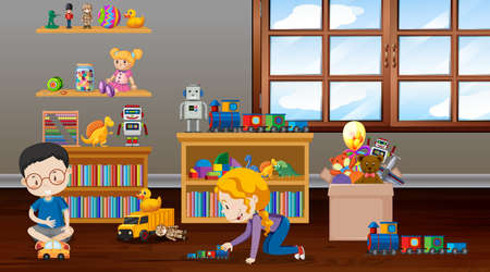 Scene with children playing in the room illustration