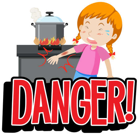 Font design for word danger with kid in the kitchen illustration