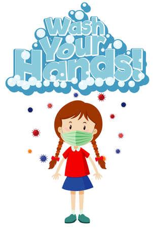 Poster design for coronavirus theme with girl wearing mask illustration  イラスト・ベクター素材