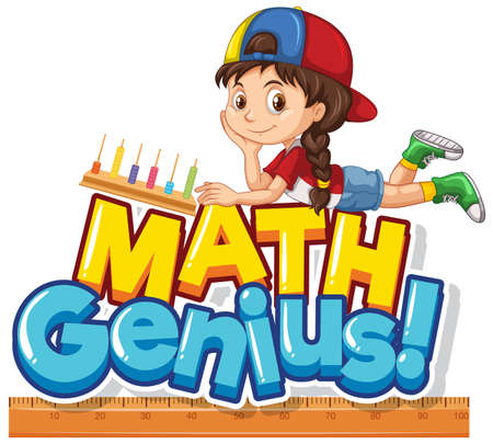 Font design for word math genius with cute girl illustration  イラスト・ベクター素材