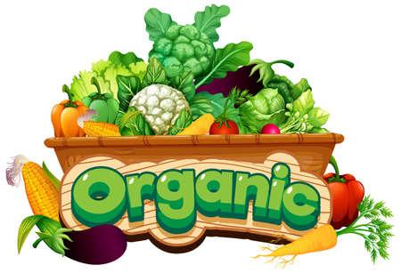 Font design for word organic with many fresh vegetables illustration Vector Illustratie