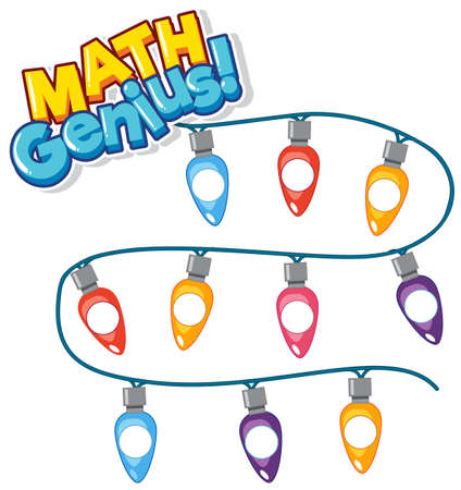 Font design for word math genius with colorful light illustration