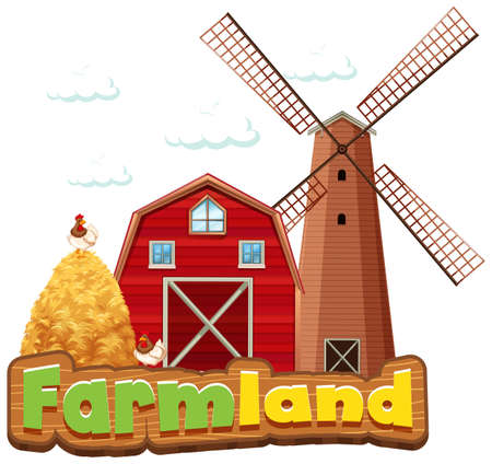 Word design for farmland with barn and windmill illustration 向量圖像