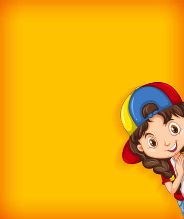 Background template with plain color wall and happy girl illustration
