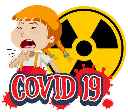 Covid 19 sign template with sick girl coughing illustration