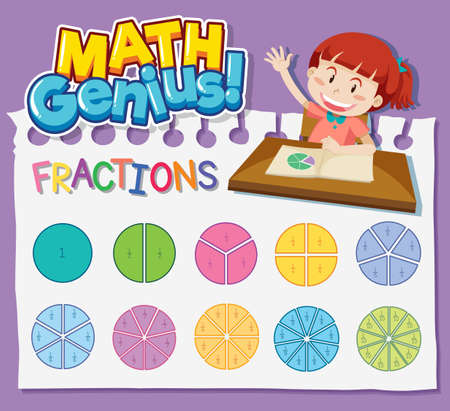Worksheet design for math genius with girl and fractions illustration