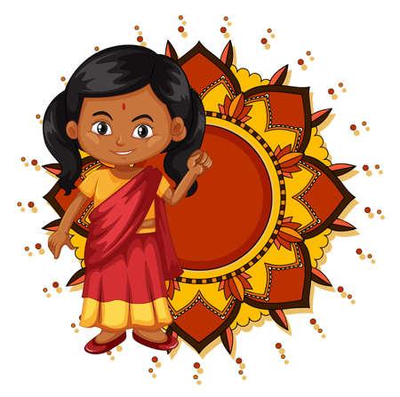 Mandala pattern design background with Indian girl smiling illustration  イラスト・ベクター素材