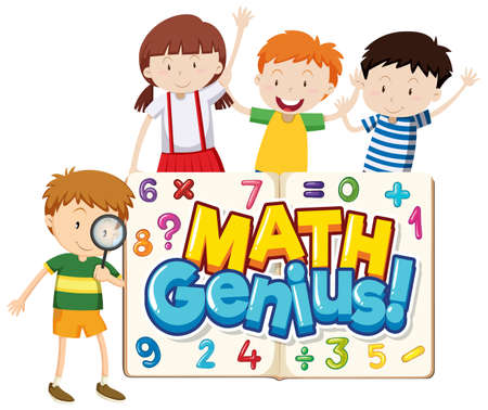 Font design for word math genius with cute children illustration