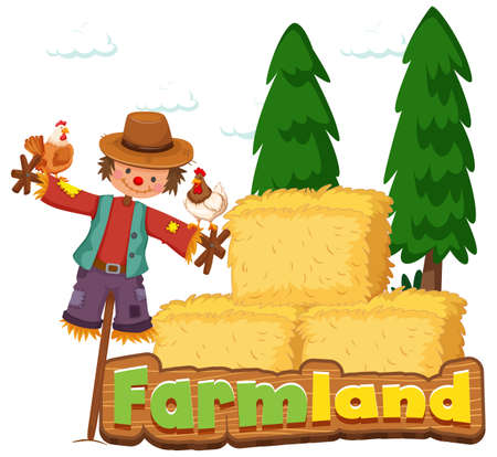 Font design for word farmland with scarecrow and hay illustration