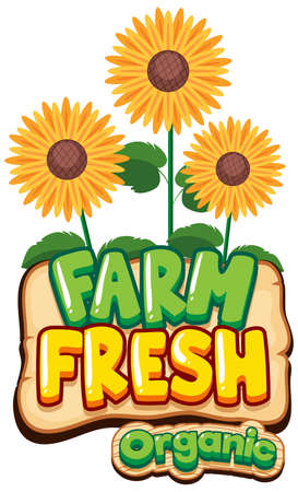 Font design for word fresh farm with sunflowers illustration