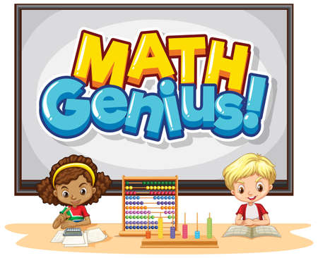 Font design for word math genius with happy kids in class illustration