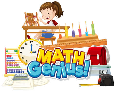 Font design for word math genius with girl and school item illustration  イラスト・ベクター素材