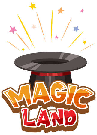 Font design for word magic land with magician hat illustration